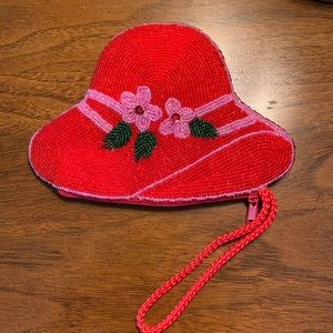 Vintage 1980's Appleseed's Beaded Hat Coin Purse